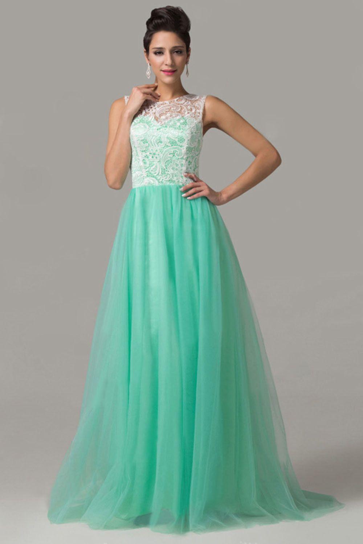 Elegant Mint Prom Dresses,Ruched Lace Prom Dresses,Sleeveless Prom ...