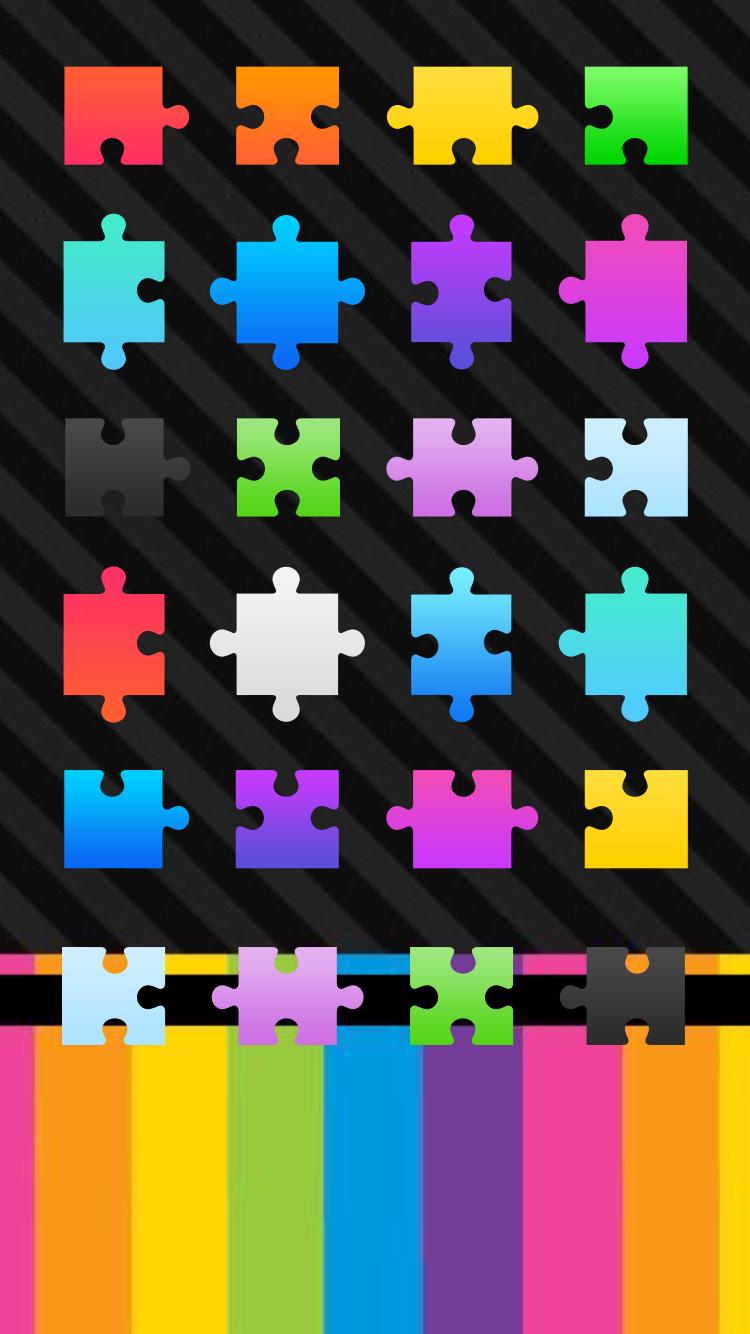 Colorful Puzzle Pieces Icon Wallpaper