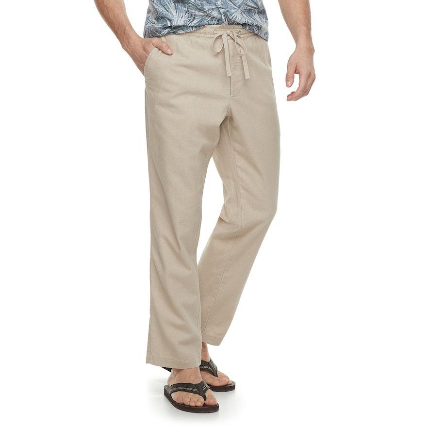 f99ef7a9909c67 Men's Marc Anthony Slim-Fit Elastic-Waist Linen-Blend Pants, Size: Small,  Med Beige