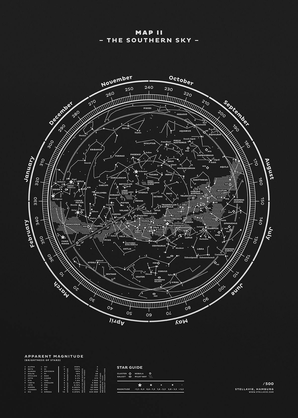 Map II The Southern Sky (Silver-White/Black) (please delete
