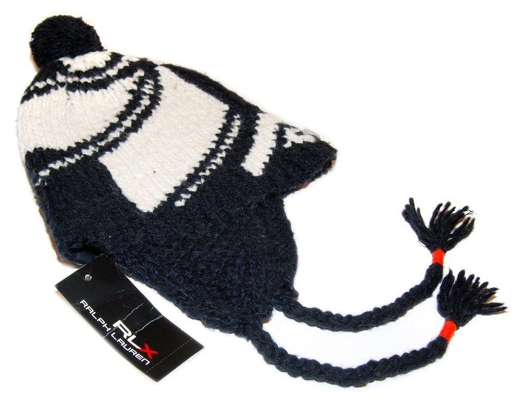 64c00f2b5fd Polo Ralph Lauren RLX Mens Wool Alpaca Skull Knit Ear Tassel Cap Hat Navy  White (eBay Link)