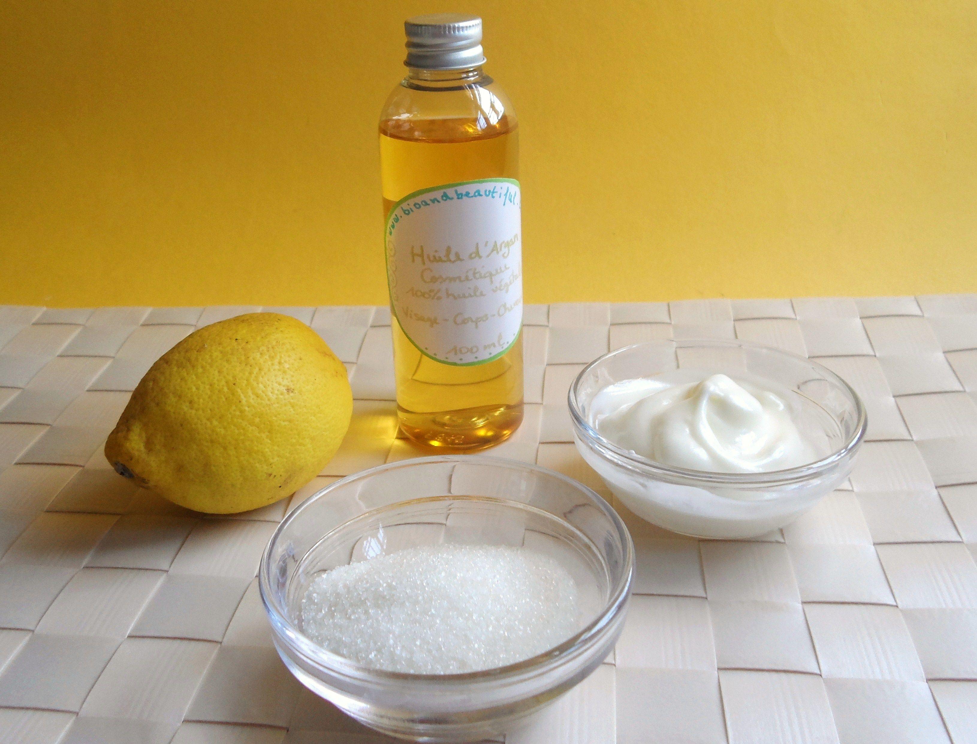 recette de gommage naturel huile d 39 argan citron yaourt sucre soins naturels astuces. Black Bedroom Furniture Sets. Home Design Ideas
