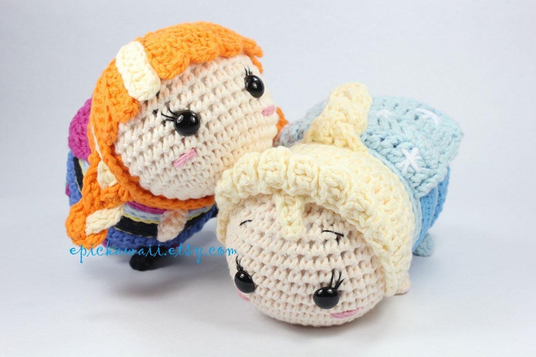 Tsum Tsum Amigurumi Pattern Free : Pattern pack anna and elsa tsum tsum crochet amigurumi dolls by
