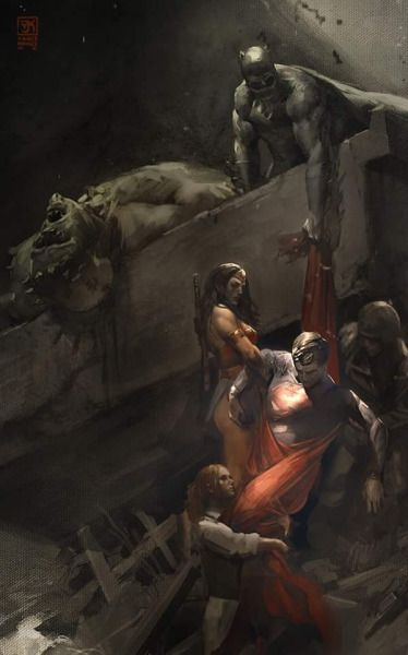 The Death of Superman by Vanc Kovac / The Descent From the Cross by Rembrandt