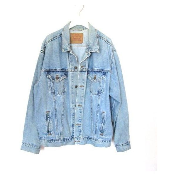 90's Grunge Levi's Denim Jacket size XL ❤ liked on Polyvore featuring outerwear, jackets, grunge jackets, vintage denim jacket, jean jacket, denim jacket and blue jackets