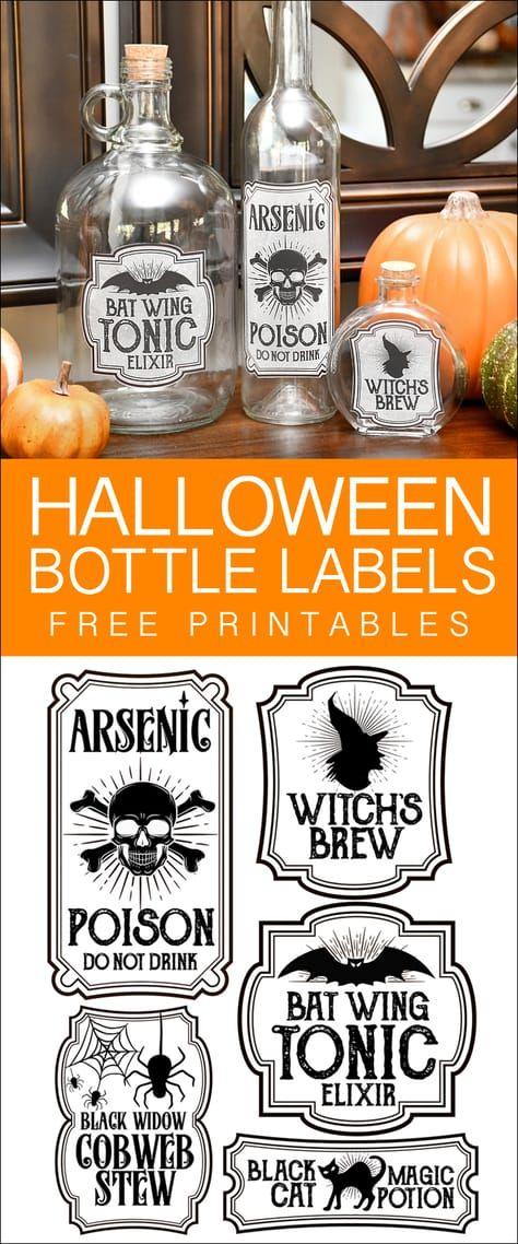Halloween Bottle Labels - Free Printables - Potions Labels