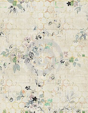 Shabby Chic Vintage Floral Background With Hexagon Pattern In Faded Colors