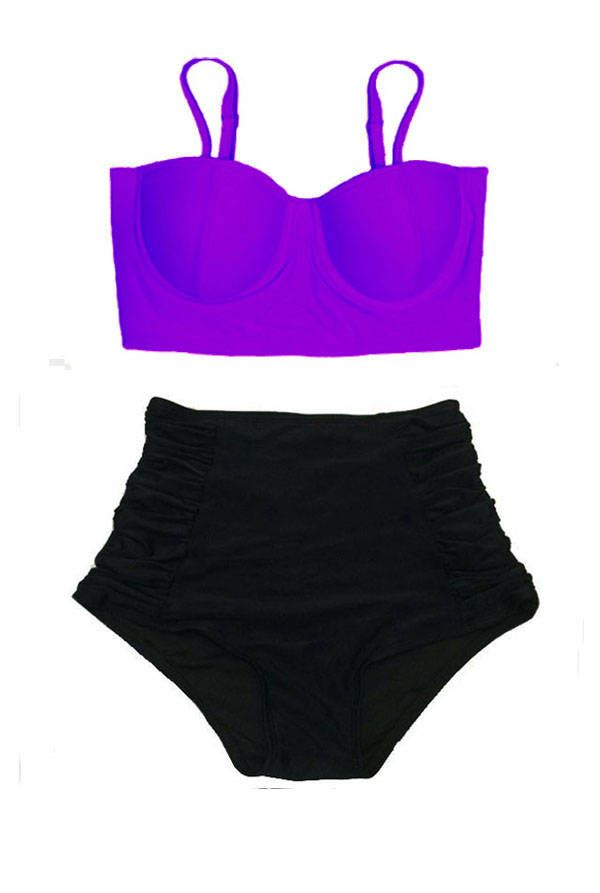 a70089856f Violet Midkini Top and Black Ruched Rouched Highwaisted High Waisted Waist  High-Waist Bikini Swimsuit Swimwear Bathing suit suits S M L XL by  Venderstore on ...
