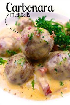 Meatballs in Carbonara Sauce
