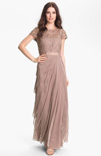 Adrianna Papell Layered Chiffon & Lace Gown available at #Nordstrom