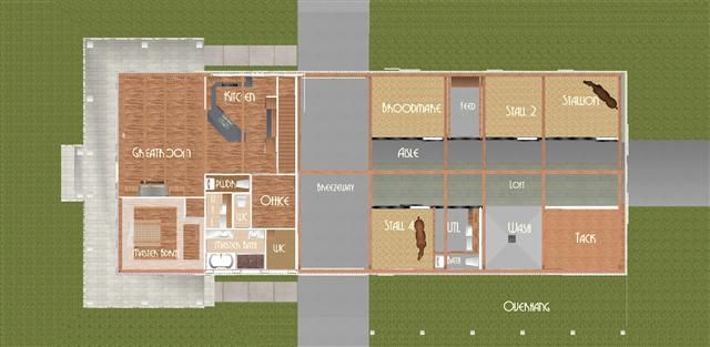 Horse Barn With Living Quarters Floor Plans: This Is Close, Revamp The Left Side For Office And Such