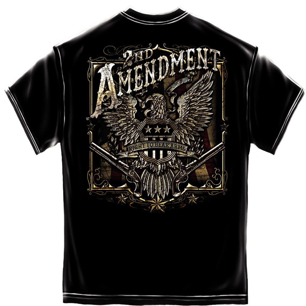 2nd Amendment Foil Print T Shirt American Flag Eagle We The People Right To Bear