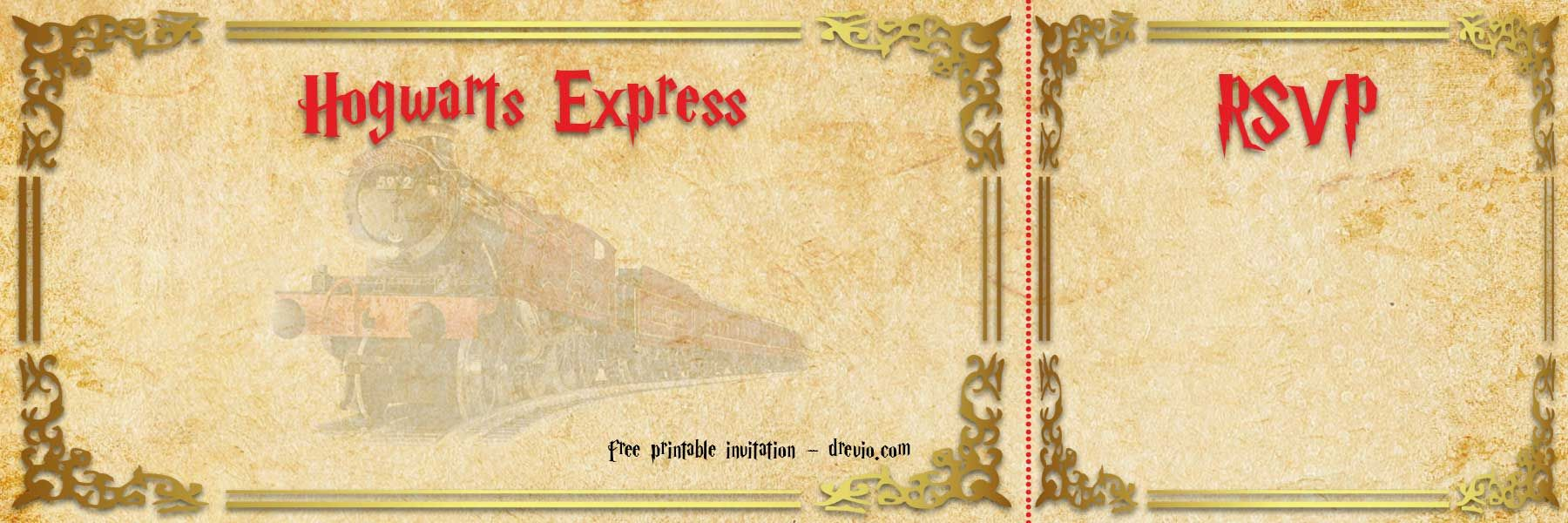 image about Hogwarts Express Printable known as Absolutely free Printable Hogwarts Categorical Ticket Invitation Template