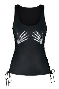 d2f42a79f86fa0 Sports Scoop Neck Sleeveless Lace-Up Side Skeleton Hands Printed Tank Tee