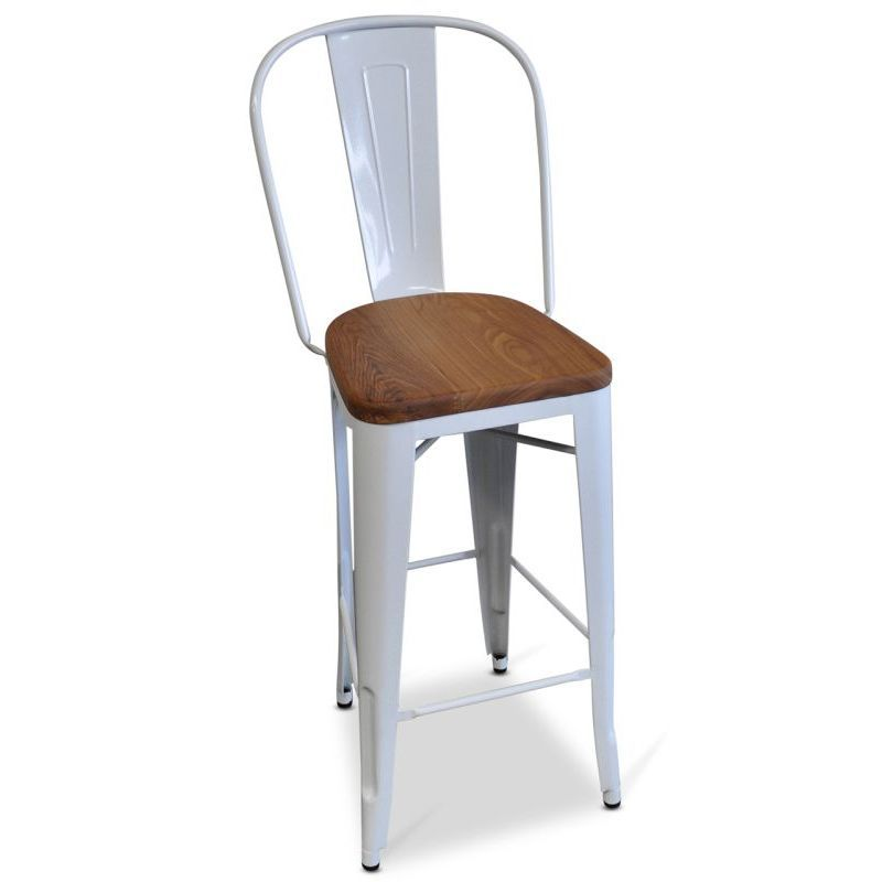 Marvelous High Back Replica Tolix Wood Seat Bar Stool White X Office Gmtry Best Dining Table And Chair Ideas Images Gmtryco