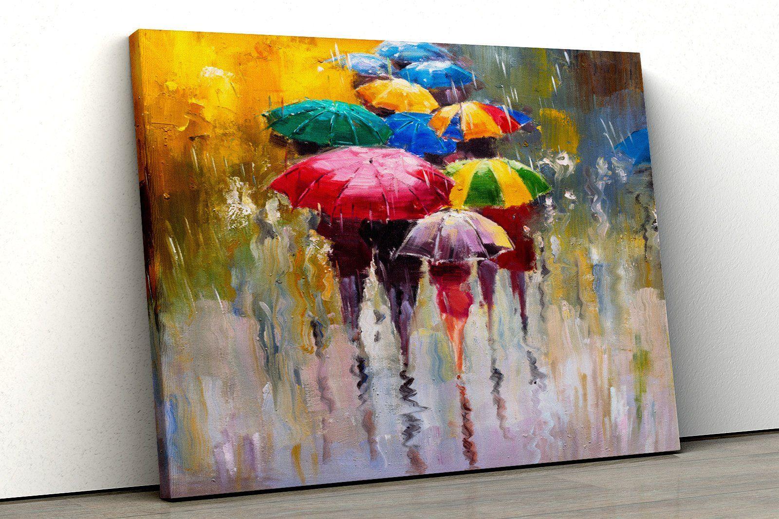Multicoloured Umbrella Rain Yellow Red Framed Bedroom Bathroom Etsy Abstract Canvas Art Abstract Canvas Framed Canvas Prints