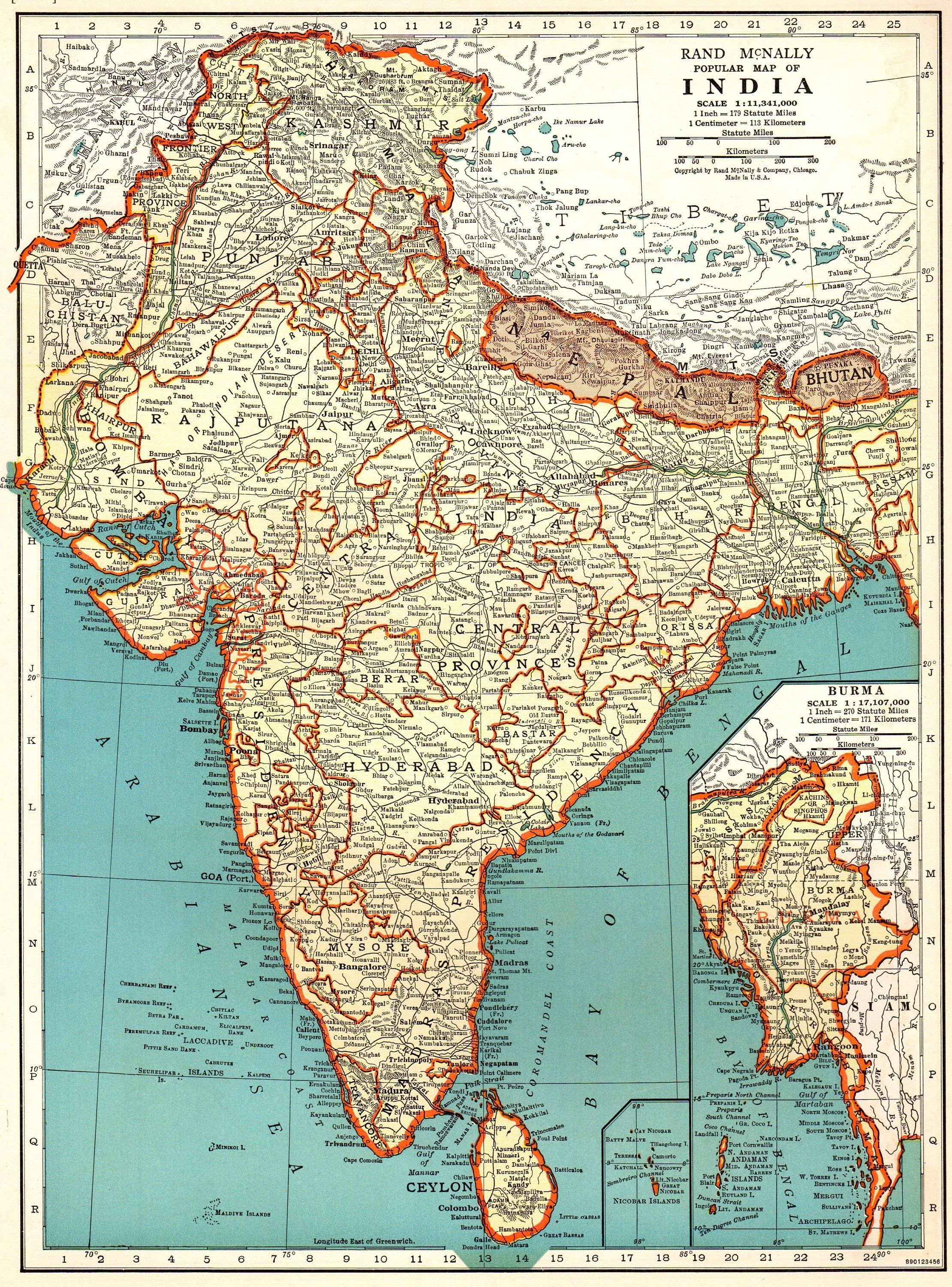 1943 antique map of india vintage india map library decor