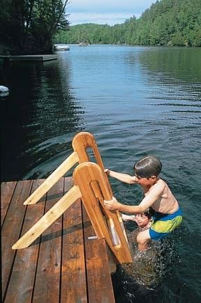 Swimming Ladder Wood Plans Lakefront Patio Pool Ladder