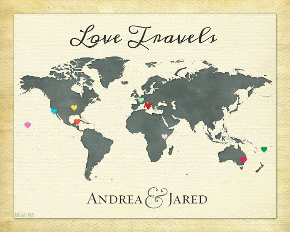 Anniversary present personalized couple gift travel map print anniversary present personalized couple gift travel map print world map of our travels wanderlust print love travels print 6b gumiabroncs Choice Image