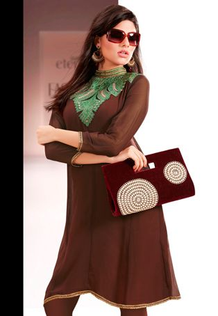 Utsav Fashion : brown-viscose-georgette-readymade-tunic
