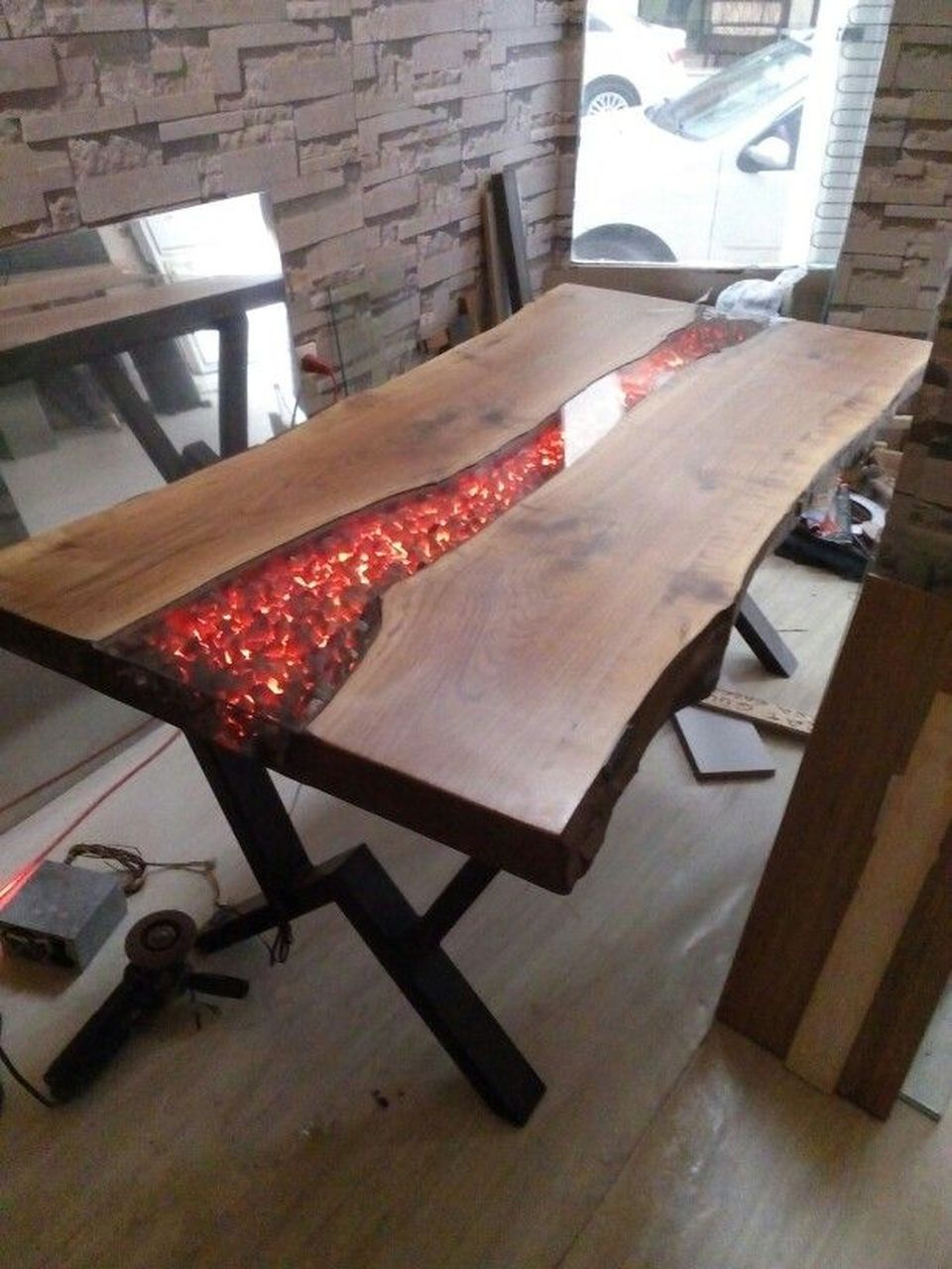 Amazing Resin Wood Table For Your Home Furniture Banc Rustique  # Banc En Bois Brule