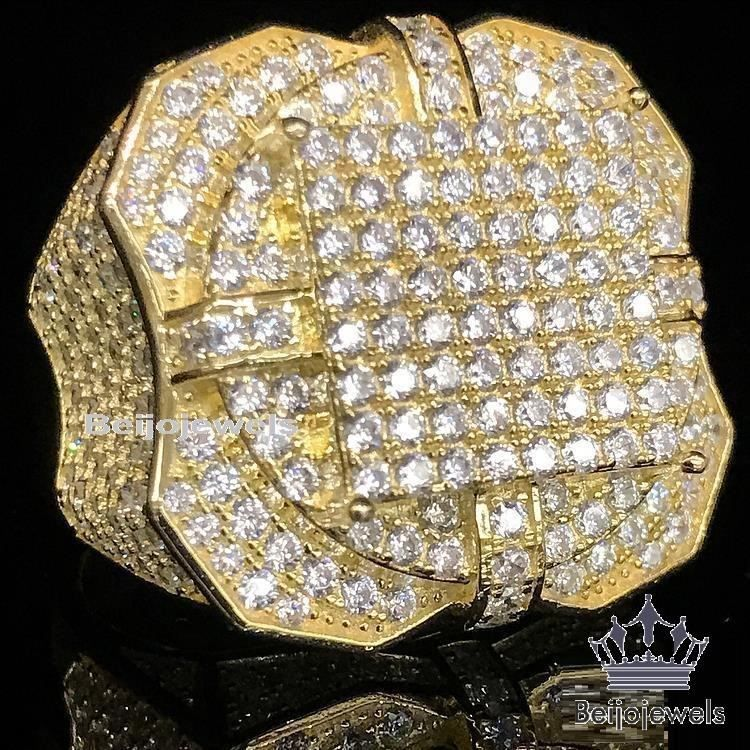 REAL YELLOW GOLD STERLING SLIVER MENS BIG BOLD LAB DIAMOND XL PINKY RING BAND