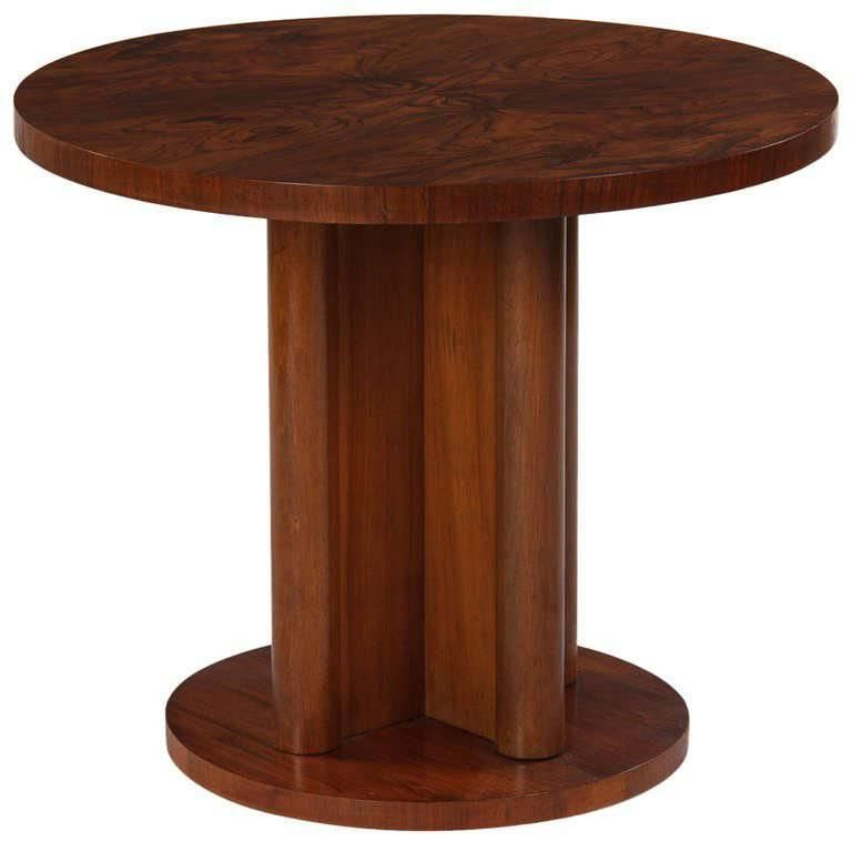 French Art Deco Round Walnut Side Table 1930s Dh