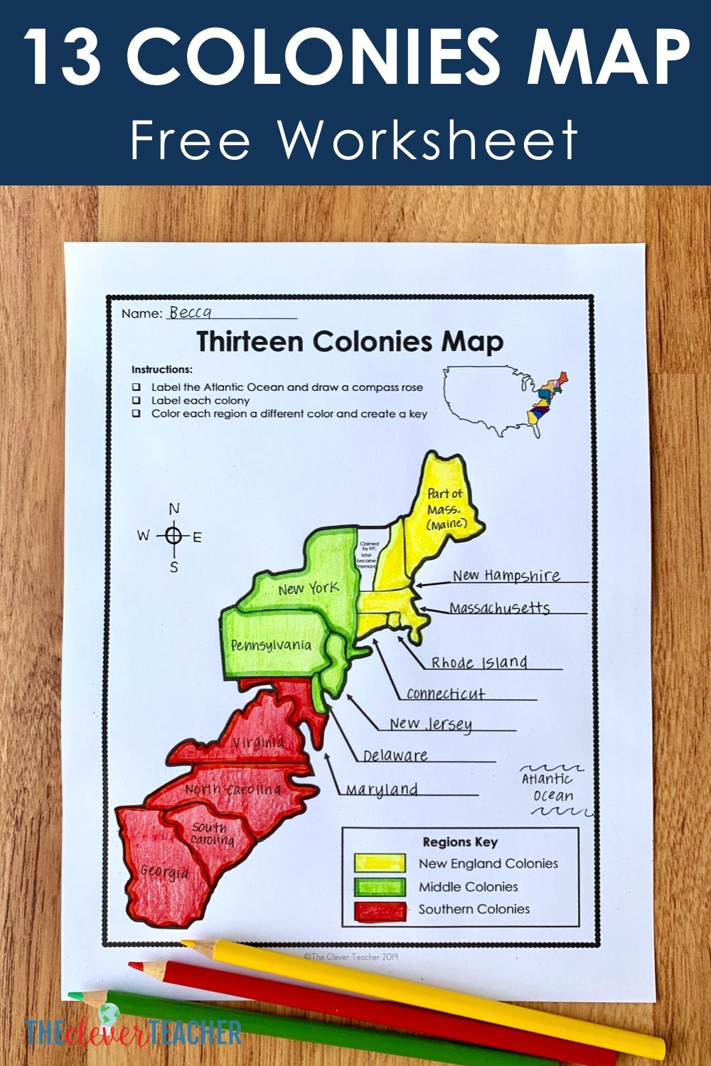 Free 13 colonies map worksheet and lesson (New England, Middle, and Southern). Perfect resource for 5th, 6th, 7th, and 8th grades