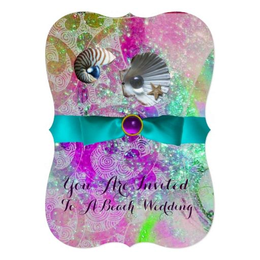 ABSTRACT PURPLE PINK WAVES SEASHELLS ,BLUE RIBBON INVITATIONS