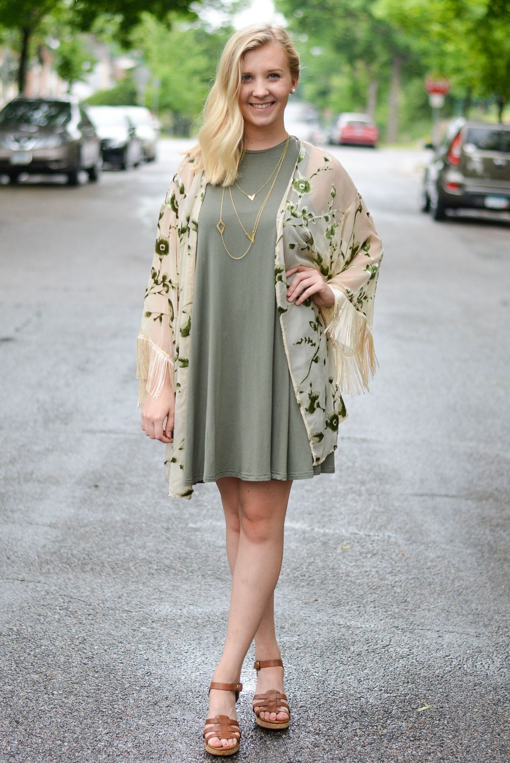Styling a t-shirt dress for date night. Kimono and wedges! Blog - Paisley +  Sparrow 375cc89f7