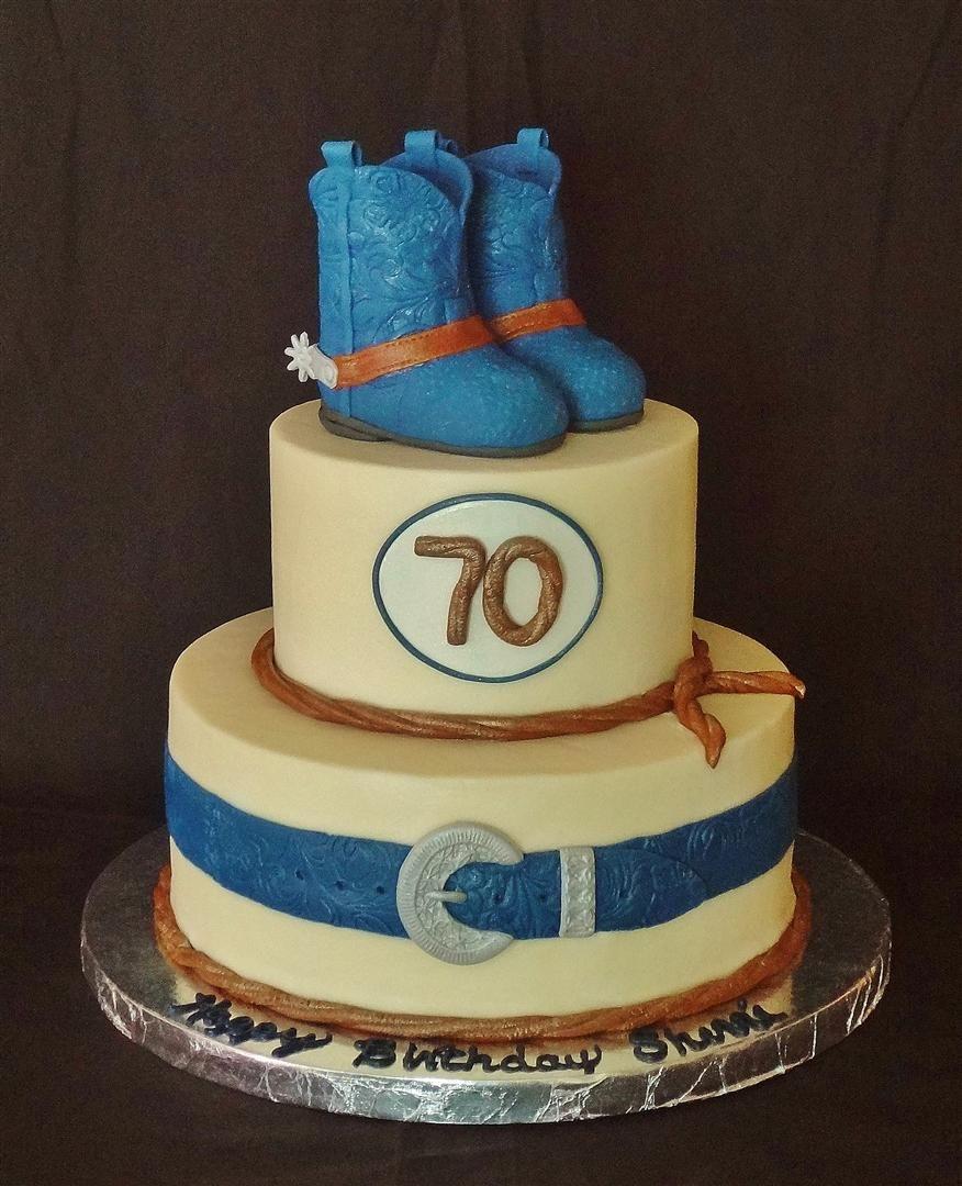 Cowboy western birthday cakes and belt 70th birthday for 70th birthday cake decoration ideas