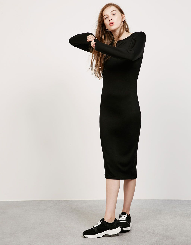 Vestido ajustado punto roma manga larga - Vestidos - Bershka España ... 6e228e05d3a3c