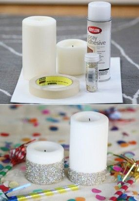 Dress up a simple candle with glitter