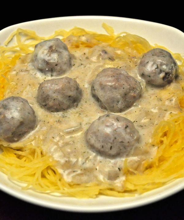 Swedish Meatballs on Spaghetti Squash #spagettisquashrecipes