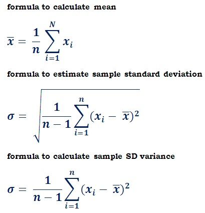 formulas to estimate sample standard deviation Probability - reference sheet examples