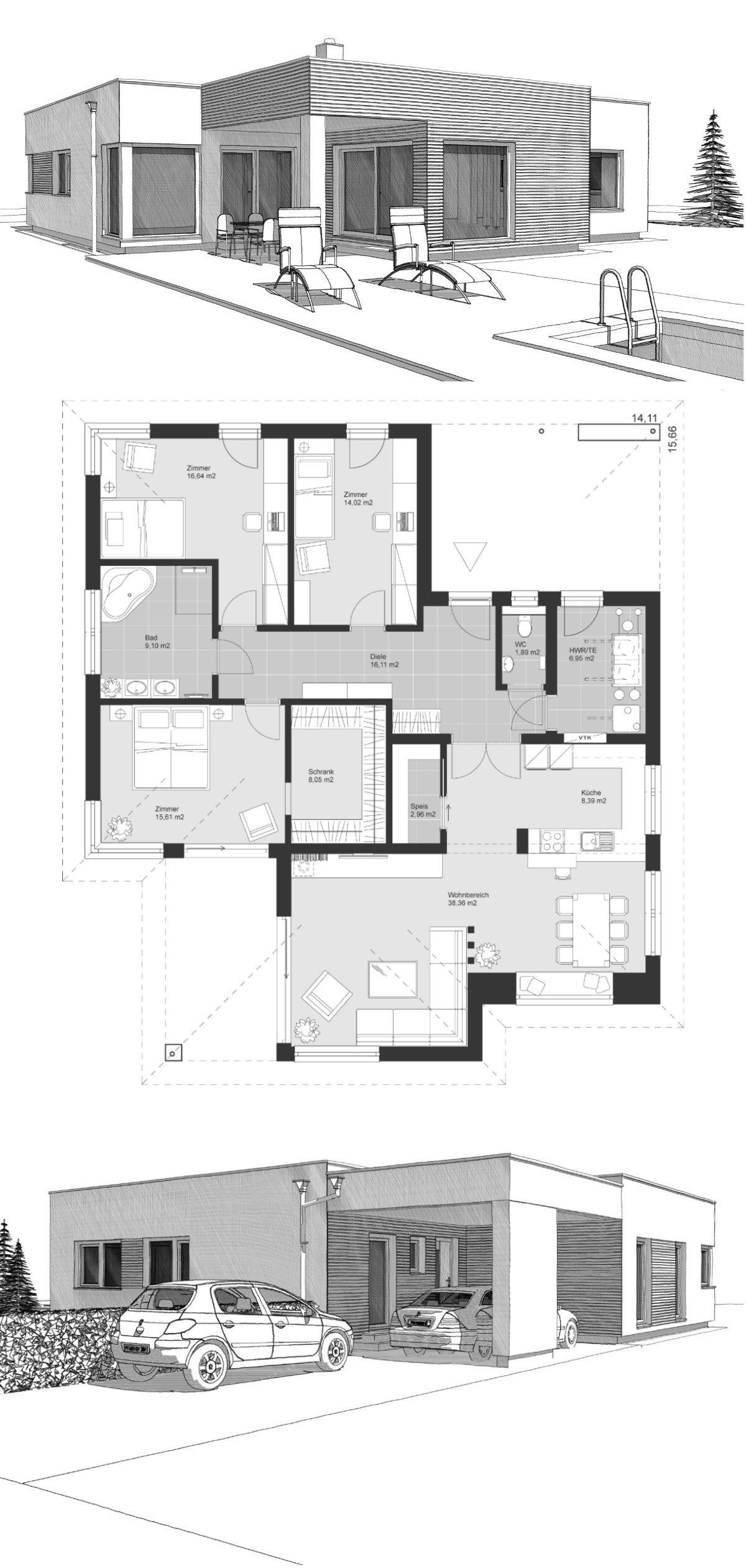 Bungalow Haus modern & minimalistisch mit Flachdach Architektur im Bauhausstil, Grundriss barrierefrei 140 qm - Winkelbungalow bauen Ideen ELK Bungalow 140 von ELK Fertighaus - HausbauDirekt.de #arquitectonico