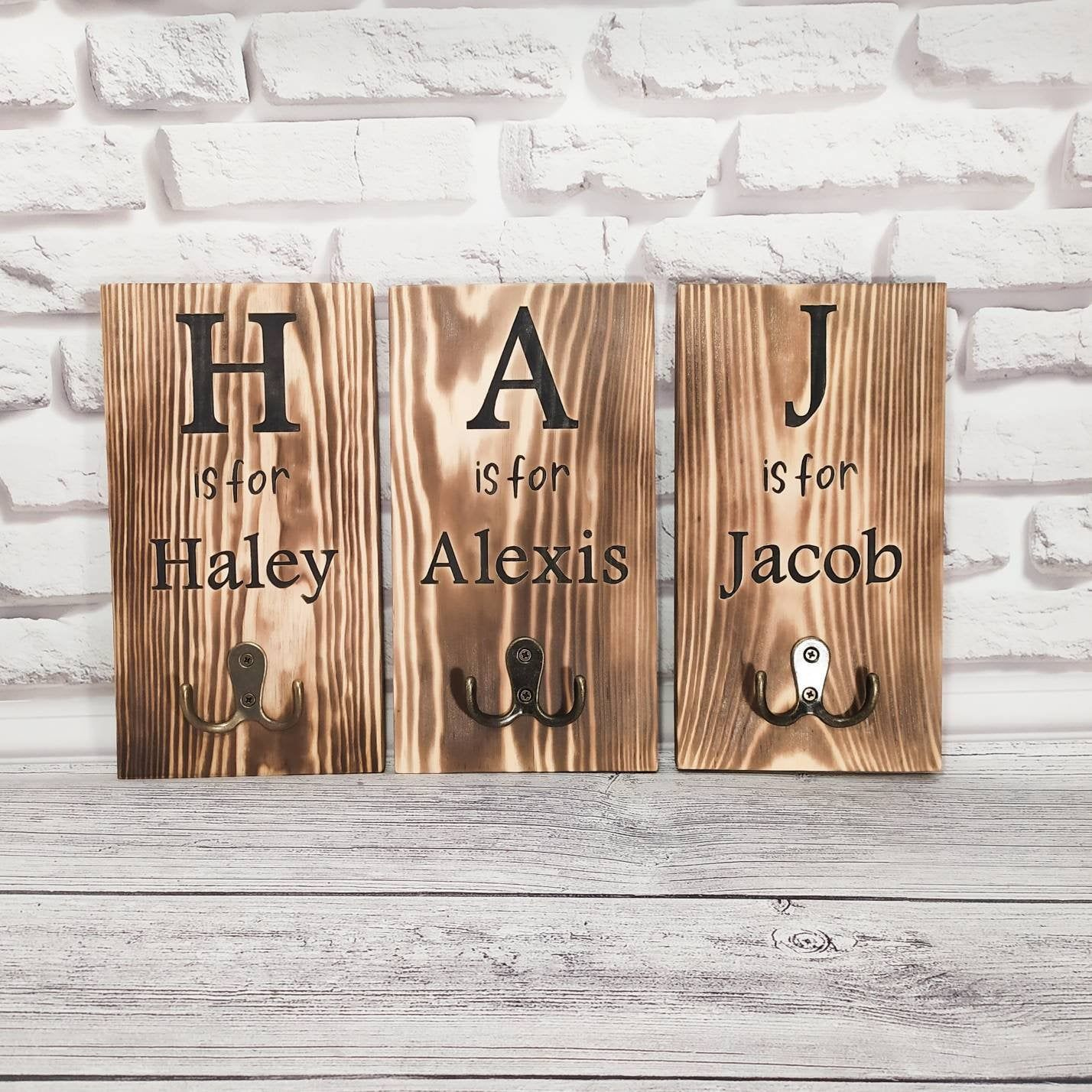Backpack Hooks Personalized Name Hook Farmhouse Kids Sign Etsy Stocking Holders For Mantle Christmas Stockings Personalized Christmas Stocking Holders