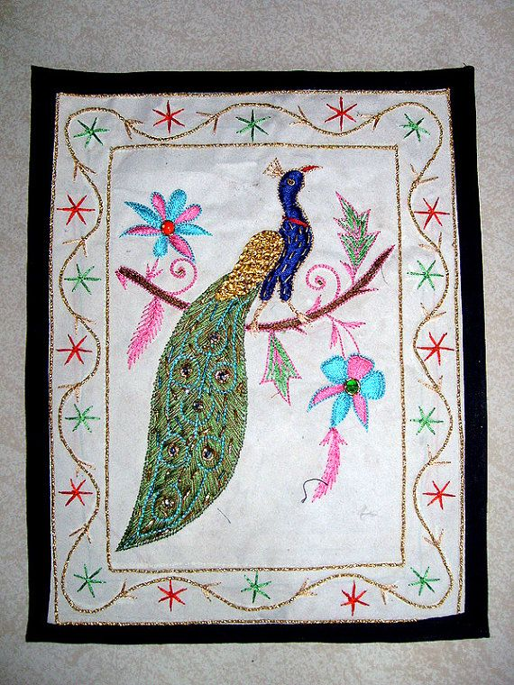 Indian Peacock Hand Made Hand Embroidered Wall Hanging Tapestry