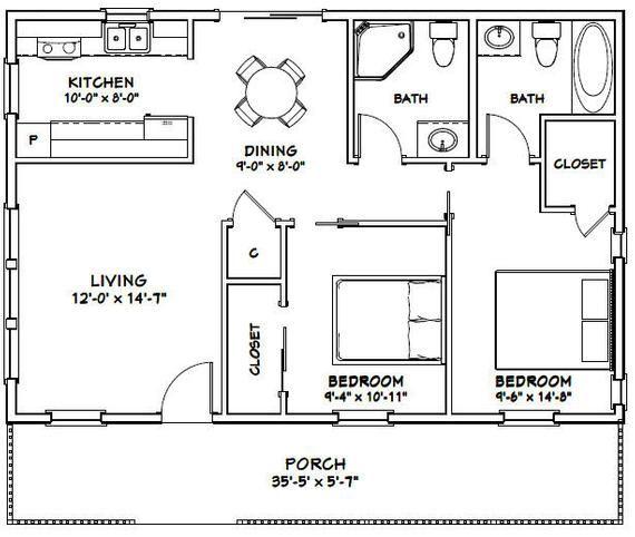 36x24 House 2 Bedroom 2 Bath 864 Sq Ft Pdf Floor Plan Etsy Small House Floor Plans Cottage Floor Plans Simple Floor Plans Simple cottage house plan