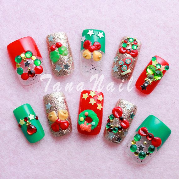 Japanese Nail Art Tips , Christmas Design Green \u0026 Red Nail