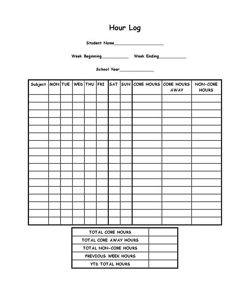 Another Missouri Hour Log Form  Homeschool Organization