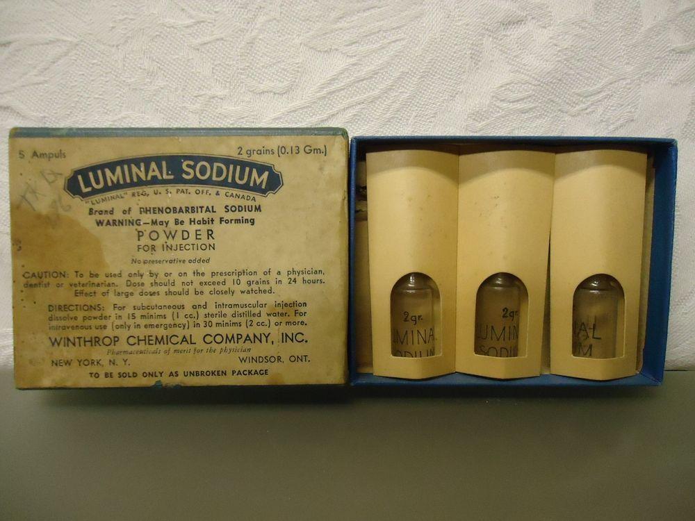 Phenobarbital Sodium Luminal Sodium Winthrop Chemical co. Empty medicine Box