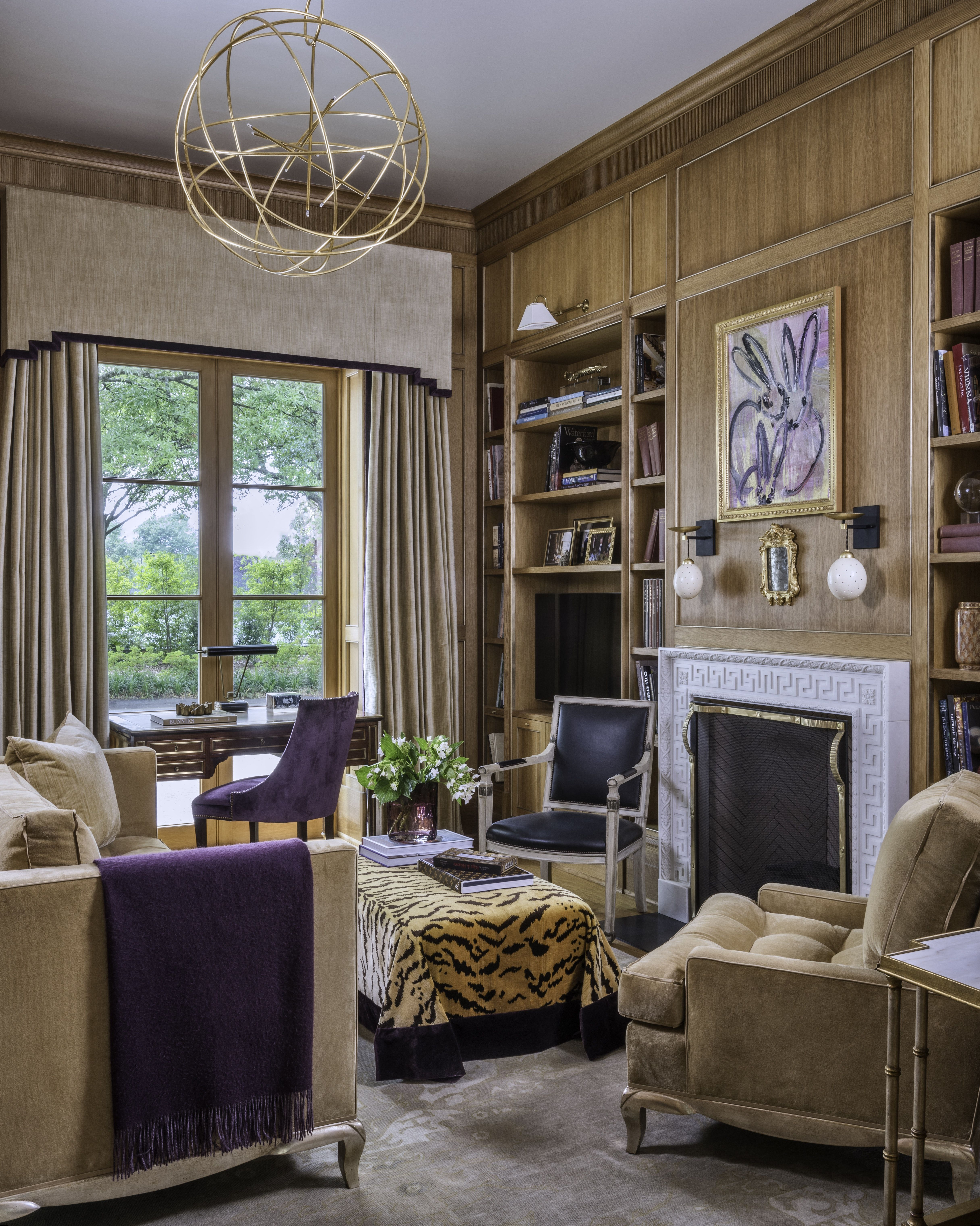 Beautiful Wood Paneled Rooms: Glamour Library With Wood Paneling