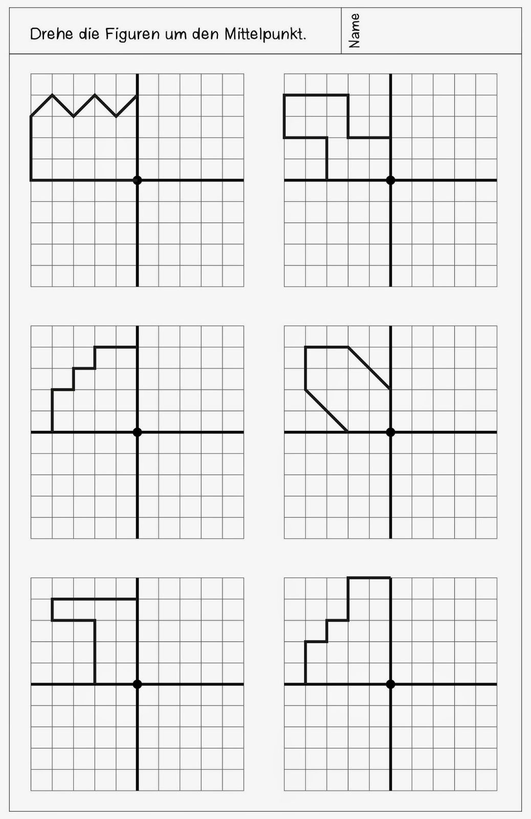 Workbooks symmetry worksheets for high school : neue Arbeitsblätter zur Drehsymmetrie | Math, Worksheets and School