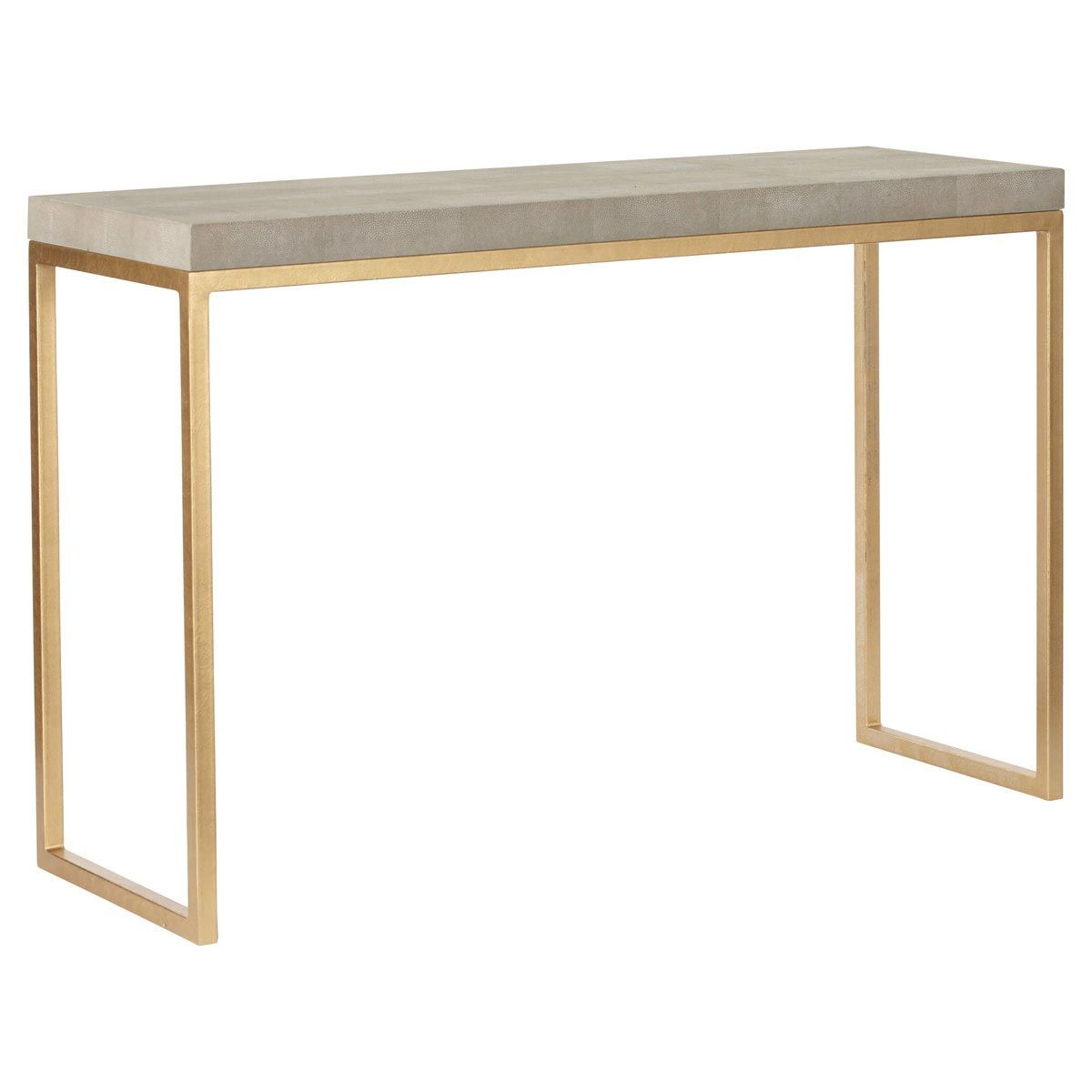Lantau Faux Shagreen U0026 Gold Console Table   Grey #OKA #Furniture #Design
