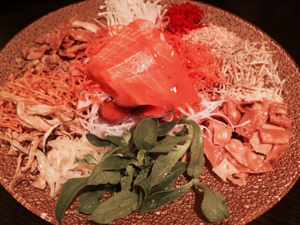 #CNY2015 #Salad tossing #prosperity #VeggieDelight #MockMeat #Salmon #Yummy