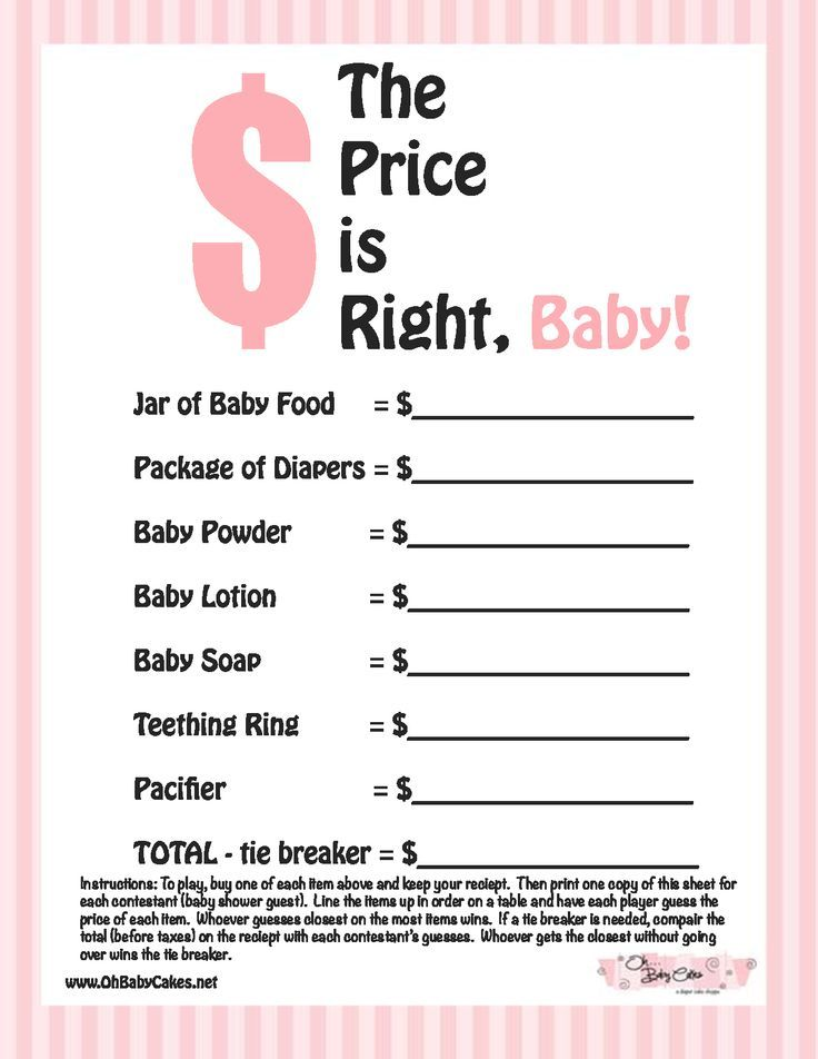 Baby Shower Games The Price Is Right Baby Shower Game Pink