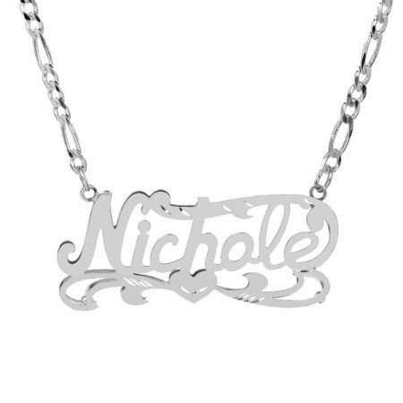 94a3286726530 Personalized Sterling Silver Diamond Cut Nameplate Necklace with an ...