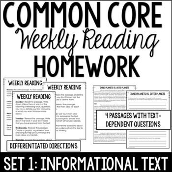 Common Core Weekly Reading Homework Review {Set 1
