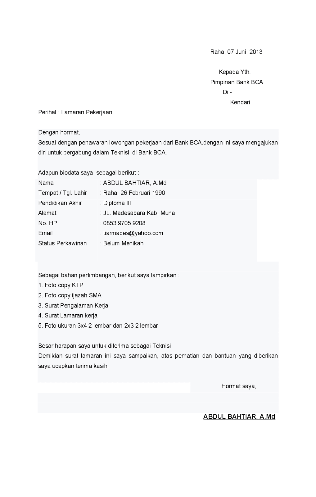 Contoh Surat Lamaran Alfamart